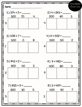 Area Model Multiplication: Practice Pages, Quizzes, and Task Cards