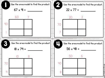 Area Model Multiplication Task Cards
