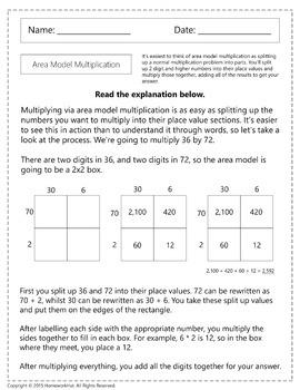 4.NBT.5 - Area Model Multiplication Worksheets