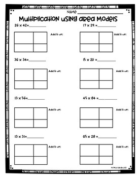 Area Model Multiplication Worksheets (3.NBT.2 and 4.NBT.5) by Monica ...