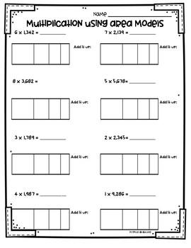Area Model Multiplication Worksheets 3.NBT.2 and 4.NBT.5 ...