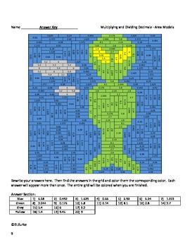 Differentiated CC Coloring Picture - Multiplying/Dividing Decimals - Alien