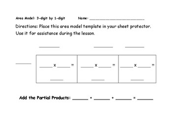 Area Model Template for Multiplying Using Expanded Form