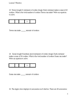 Area Model Word Problems modified and accommodating McGraw-Hill Ch.4 Lesson 7