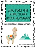 Area Model and Partial Quotient Division (Llama-themed)