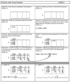 area model division worksheet teaching resources  teachers pay teachers  area model of division  digit by  digit with remainders