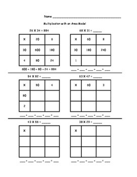 Area Models (worksheets and a game)