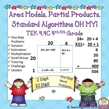 Area Model Multiplication: 2x2 Single Step Word Problems