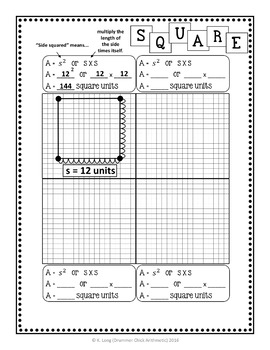 Area Models and Formulas - Student Activity Booklet