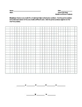 Area Models and Partial Products Worksheet - 4th Grade Go Math Lesson 3.3
