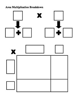 Area Multiplication Breakdown Help Sheet