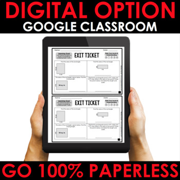 Area No Prep Activities and Exit Tickets (Differentiated for Grades 3-5)