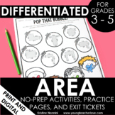 Area Activities | Area Worksheets | Area Exit Tickets | Area Games | No Prep