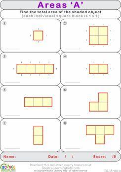 Area 1 (8 Numeracy sheets)