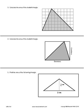 Area Of Triangles Assessment