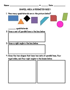 Area & Perimeter 3 Quiz Bundle