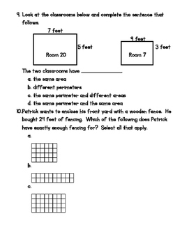 Area & Perimeter 3 Quiz Bundle