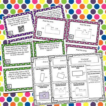 Area & Perimeter 48 Task Cards and 10 *No Prep* Worksheets