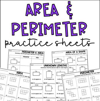 Area & Perimeter Activity Practice Sheets
