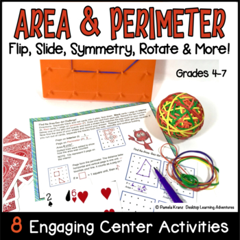 Area & Perimeter Activity Task Cards ~ Flip, Slide, Rotate