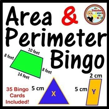 Area and Perimeter Bingo - 35 Cards Included!