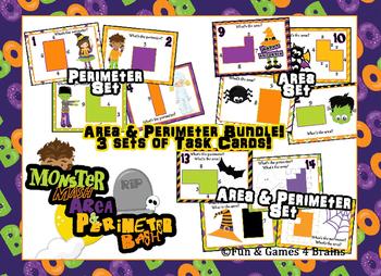 Area & Perimeter BUNDLE - Halloween themed Monster Mash Ar