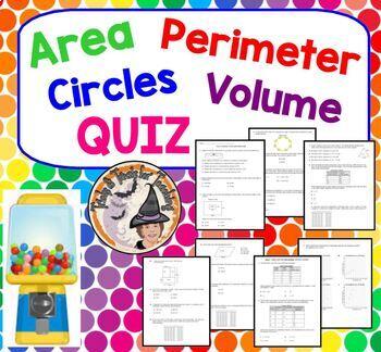 Area Perimeter Circles Volume QUIZ Review Practice Homework