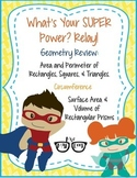Area, Perimeter, Circumference, Surface Area & Volume Review: Super Hero Relay