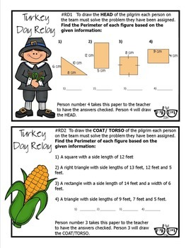 Area, Perimeter, Circumference, Surface Area & Volume Review: Turkey Day Relay