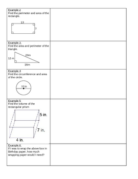 Area Perimeter Circumference Volume NOTES