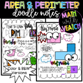 Area & Perimeter Doodle Notes (Color & B&W)