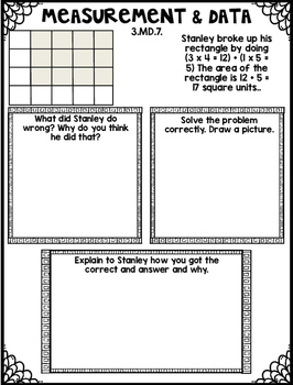 Area & Perimeter Error Analysis Tasks (Measurement and Data) with Silly Stanley