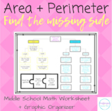 Area + Perimeter: Find Missing Side | Worksheet + Graphic | CCSS 3.MD.D.8