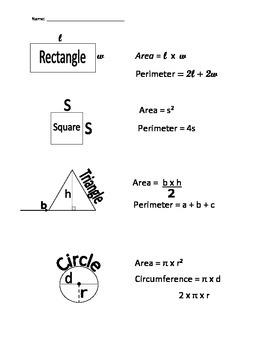 Area & Perimeter Formulas Quick Reference Sheet