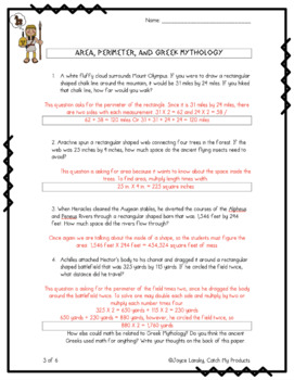 Area and Perimeter Worksheet : Word Problems Related to Greek Mythology