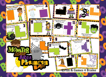 "Area & Perimeter - Halloween themed ""Monster Mash Area/peri Bash"" Task cards"