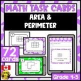 Area and Perimeter | Paper or Digital Task Cards | Metric