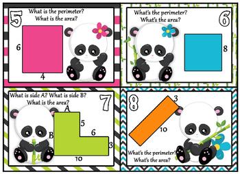 Area & Perimeter - Panda themed Perimeter and Area Task cards