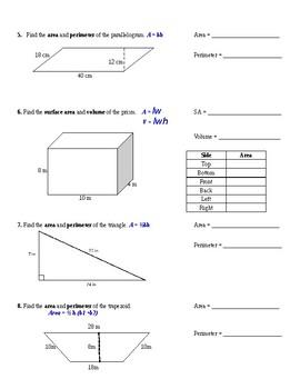 Area Perimeter Parallelogram Triangle Trapezoid Formulas