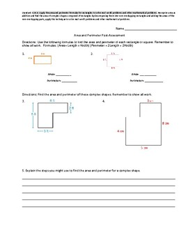 Area/Perimeter Pre & Post Asssessment
