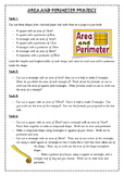 Area & Perimeter Project- Crafty Tasks METRIC