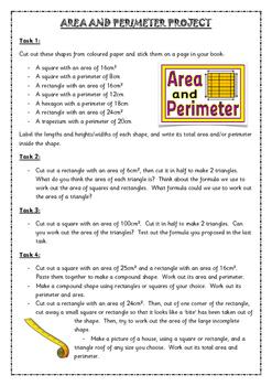 Area & Perimeter Project- Crafty Tasks METRIC
