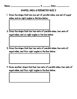 Area & Perimeter Quiz #2