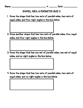 Area & Perimeter Quiz #3