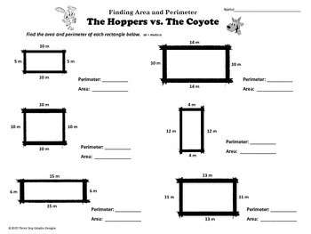 "Area Perimeter Reader's Theater + Worksheet ""The Hoppers vs. the Coyote"""