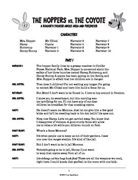 """Area Perimeter Reader's Theater + Worksheet """"The Hoppers vs. the Coyote"""""""