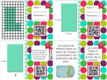 Area Perimeter SPANISH QR Code Task Cards