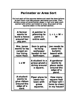 Area & Perimeter Sort