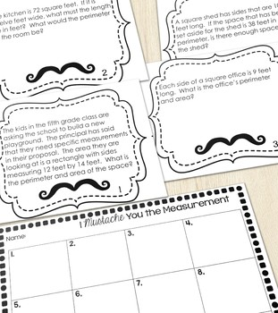 Area and Perimeter Story Problems Task Cards