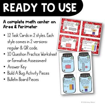 Area & Perimeter Task Card Math Center & Bug Activity 3rd Grade